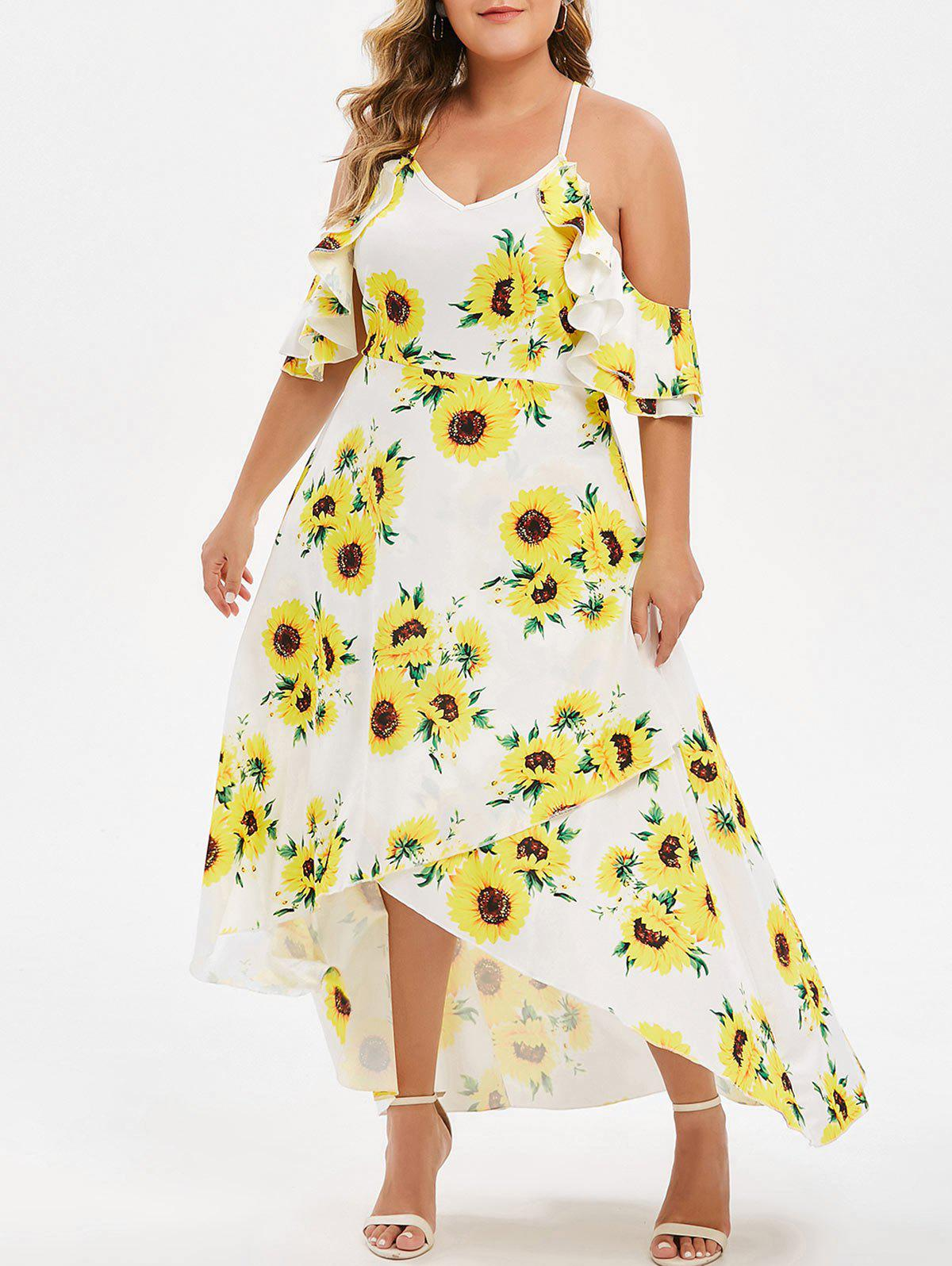 Plus Size Floral Print Ruffle Trim Asymmetrical Dress - YELLOW 4X