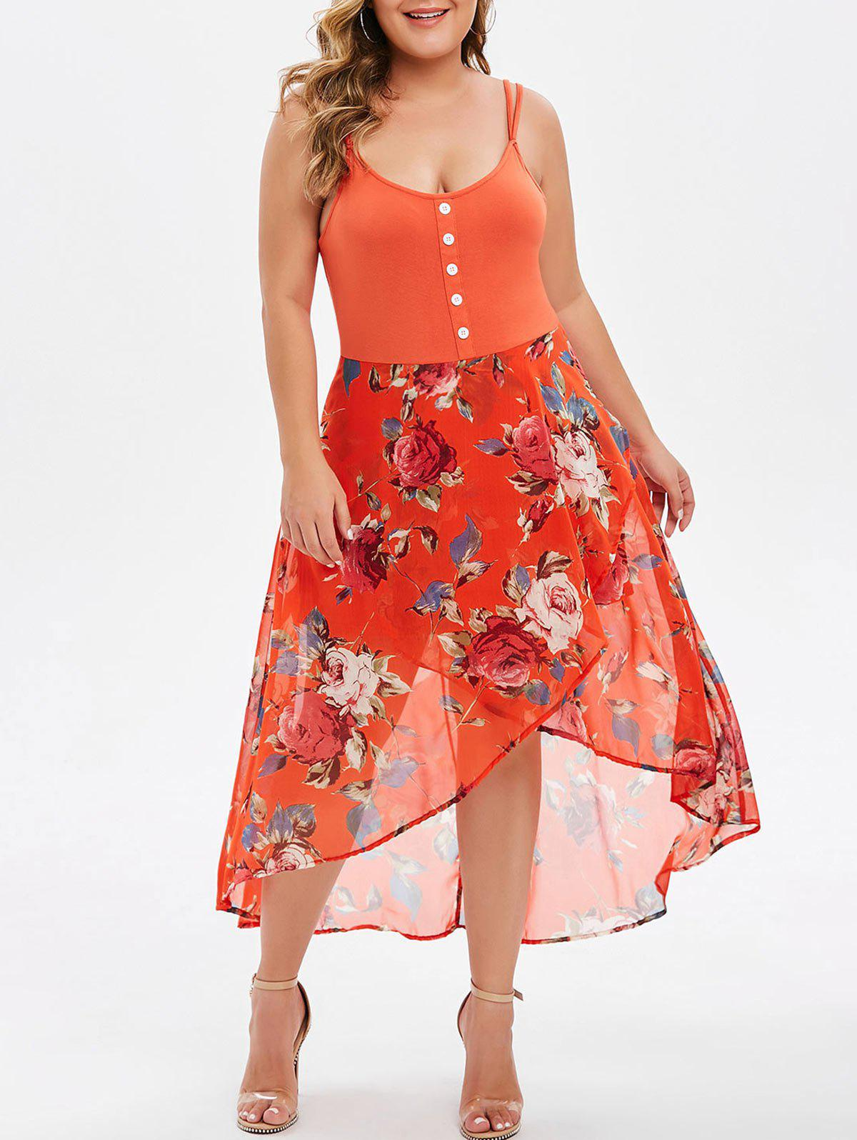 Plus Size Floral Overlay High Low Dress - BRIGHT ORANGE 5X