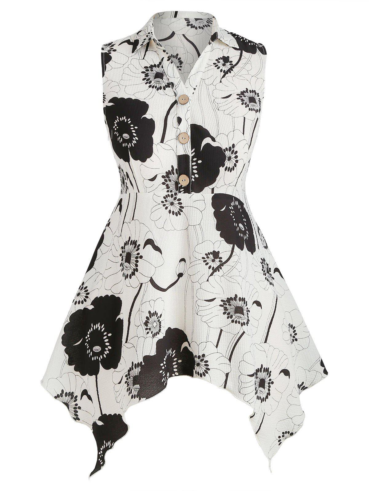 Plus Size Floral Print Handkerchief Tank Top - WHITE 3X