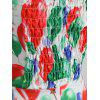Flag Print Shirred Halter Dress - multicolor D 2XL