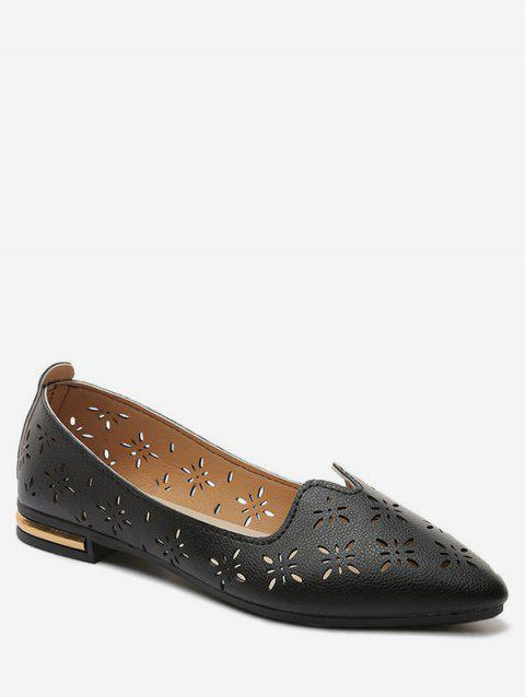 Hollow Out Pointed Toe Flats - BLACK EU 40