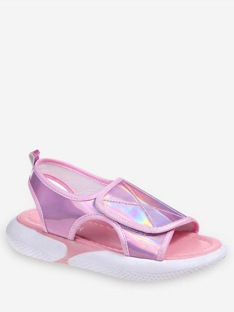 Holographic Hook Loop Sandals - HOT PINK EU 39