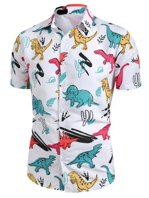 Cartoon Dinosaur Print Button Up Shirt - WHITE M