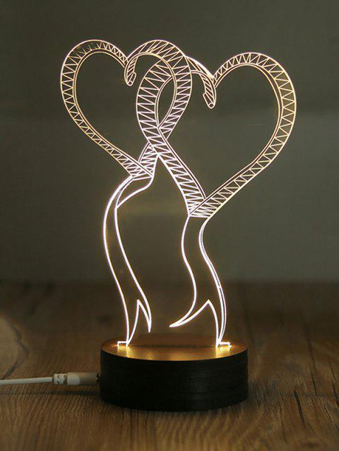 5V 0.5W USB Warm Light Double Heart Pattern Night Light - BLACK