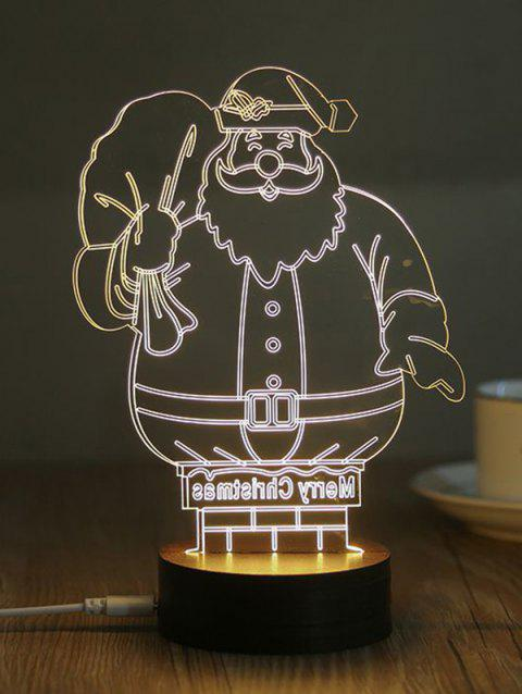 5V 0.5W USB Warm Light Santa Claus Print Night Light - BLACK