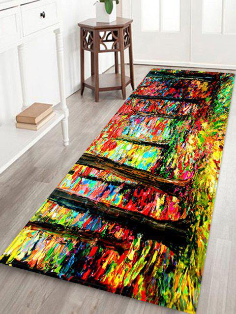 Colorful Forest Painting Pattern Water Absorption Area Rug - SUN YELLOW W24 X L71 INCH