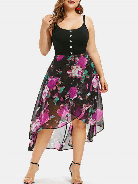 Plus Size Floral Overlay High Low Dress - DIMORPHOTHECA MAGENTA 1X