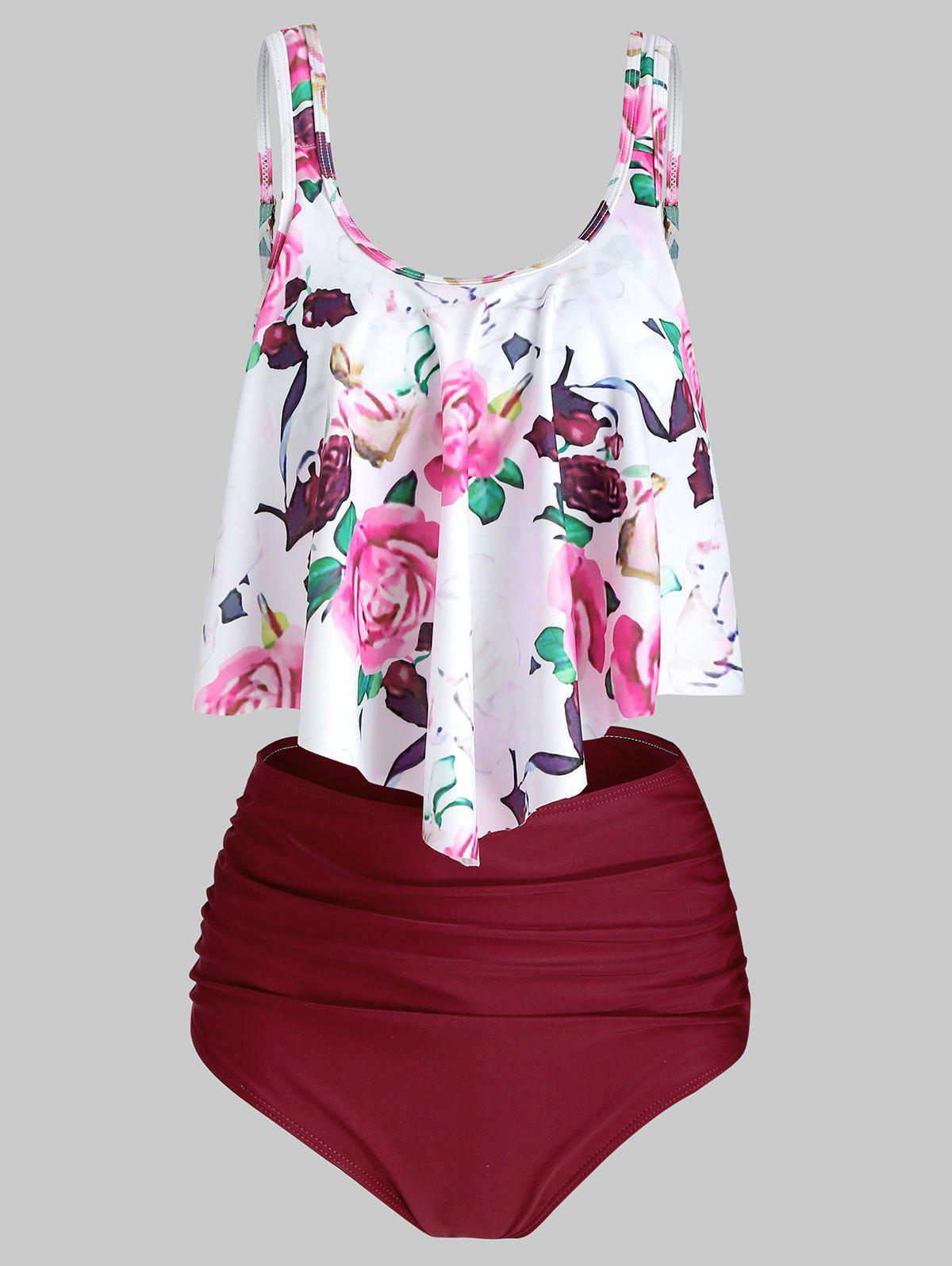 Floral Printed Overlay Tankini Set - RED WINE M