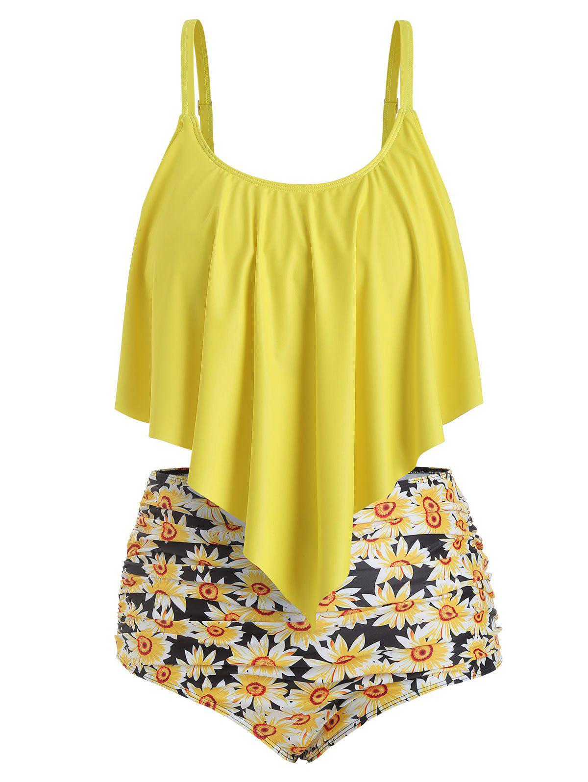 Plus Size Ruffled Sunflower Print Bikini Set - YELLOW 2X