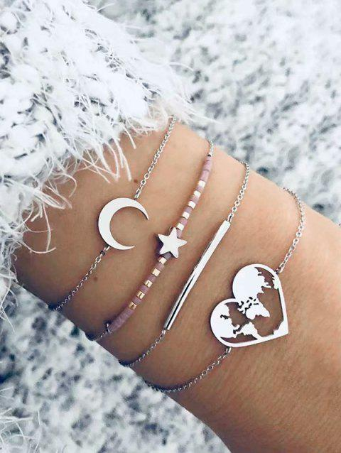 4Pcs Star Moon Heart Bracelet Set - SILVER