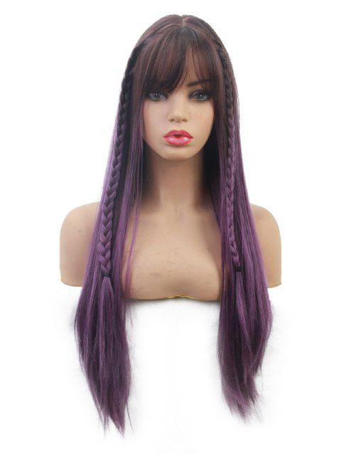 Long Gradient See-through Bang Straight Synthetic Wig - multicolor
