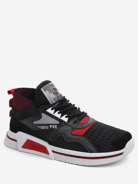 Color Block Mid Top Breathable Sneakers - RED EU 43