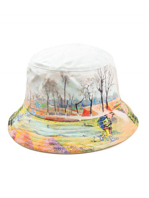 Landscape Print Bucket Hat - BLUE