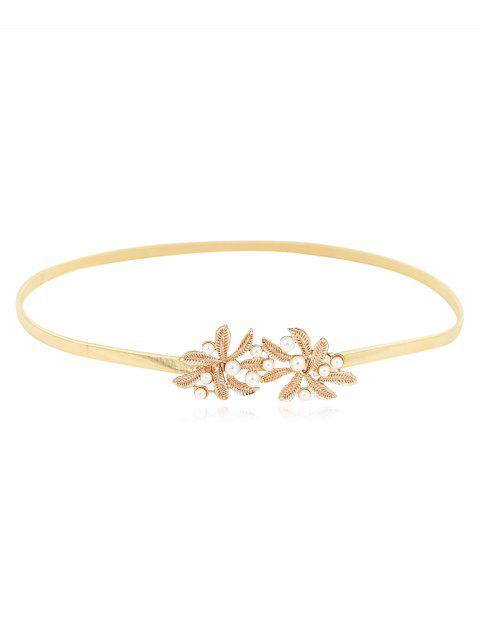 Floral Faux Pearl Chain Thin Belt - GOLD