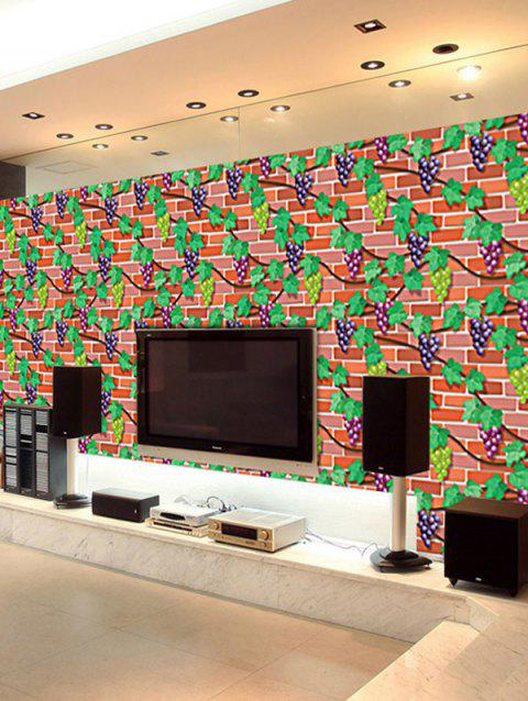 Brick Grapes Leaf Pattern Wall Sticker - multicolor