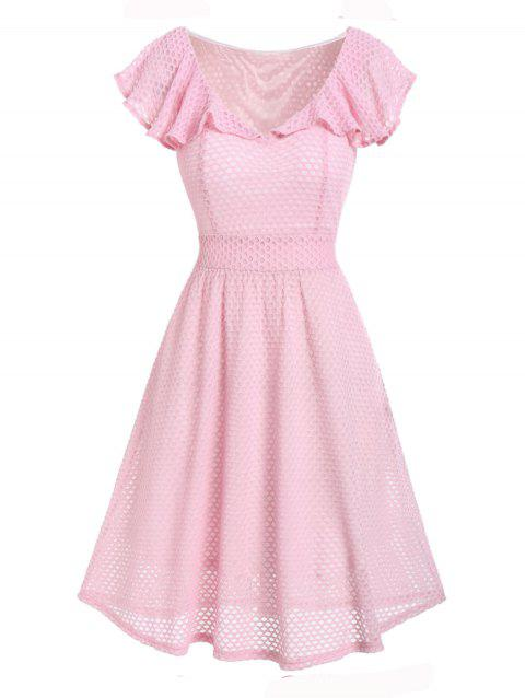 Flounce Fishnet A Line Casual Dress - PIG PINK 2XL