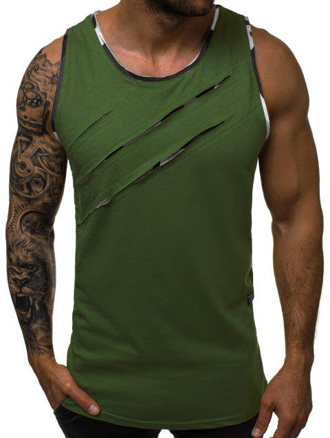 Scratches Patch Tank Top - ARMY GREEN L