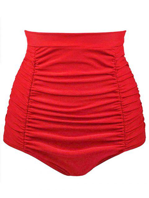 High Waist Ruched Swim Bottoms - RED XL
