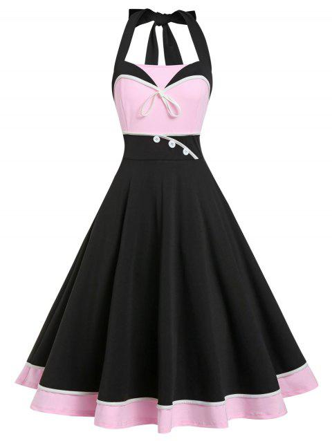 Retro A Line Color Block Halter Dress - BLACK L