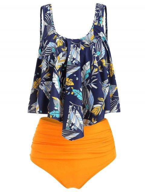 Feather Leaf Flounce Ruched Tankini Set - YELLOW M