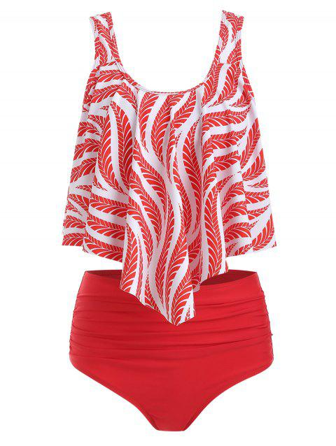 Floral Leaf Ruched Flounce Tankini Set - RED S