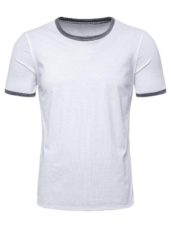 Casual Round Neck Short Sleeves T-shirt - WHITE XL
