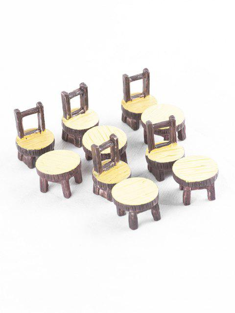 5Sets Chair Table Shape Resin Micro Landschaft - CORN YELLOW
