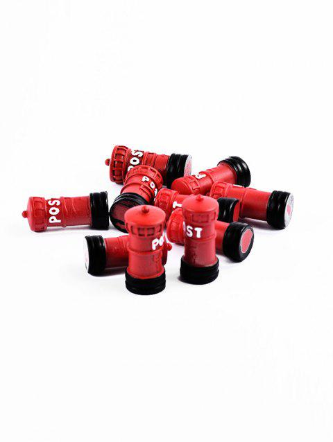 10Pcs Post Box Shape Resin Micro Landschaft - RED WINE