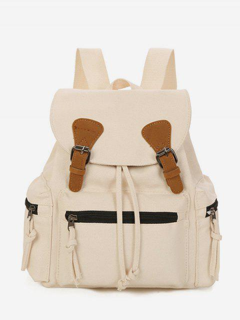 Buckle Drawstring Canvas Backpack - WARM WHITE