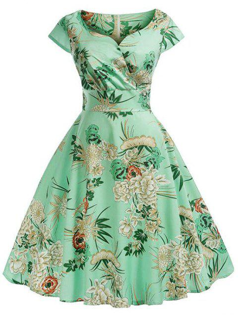 Cap Sleeves Floral Print Surplice Dress - ALGAE GREEN M