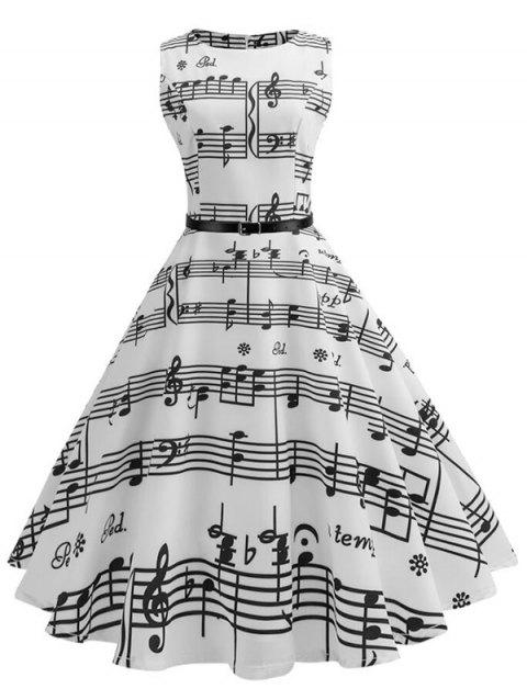 Musical Notes Sleeveless Belted Flare Dress - WHITE L