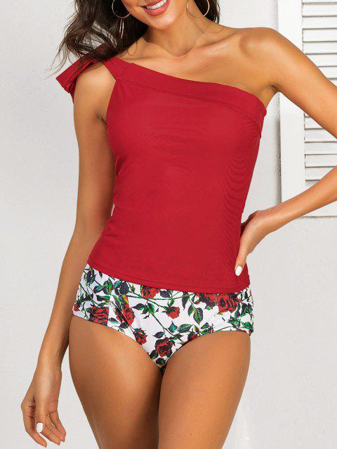 Skew Neck Floral Print Tankini Set - RED M