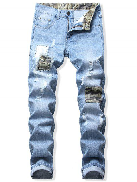 Patchworks Decoration Casual Ripped Jeans - JEANS BLUE 42