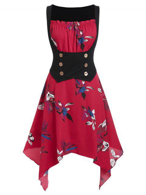 Plus Size Floral Print Corset Waist Handkerchief Dress - LAVA RED 5X
