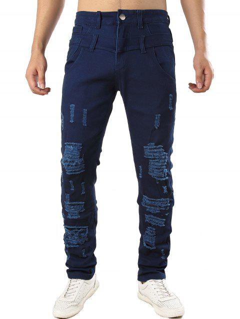 Zip Fly Design Casual Ripped Jeans - DEEP BLUE 34