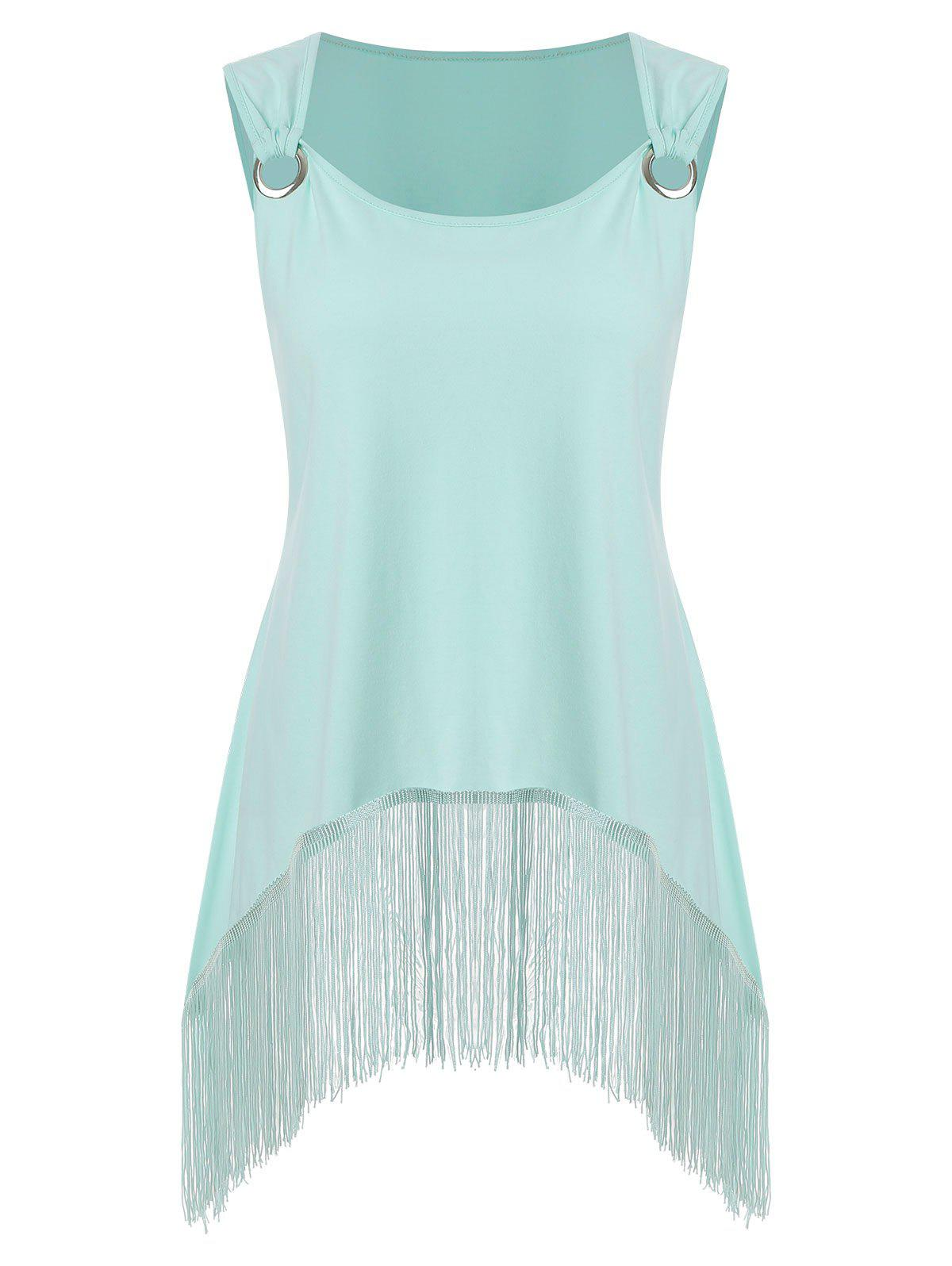 Fringes Metal Rings Plus Size Tank Top - PALE BLUE LILY 2X