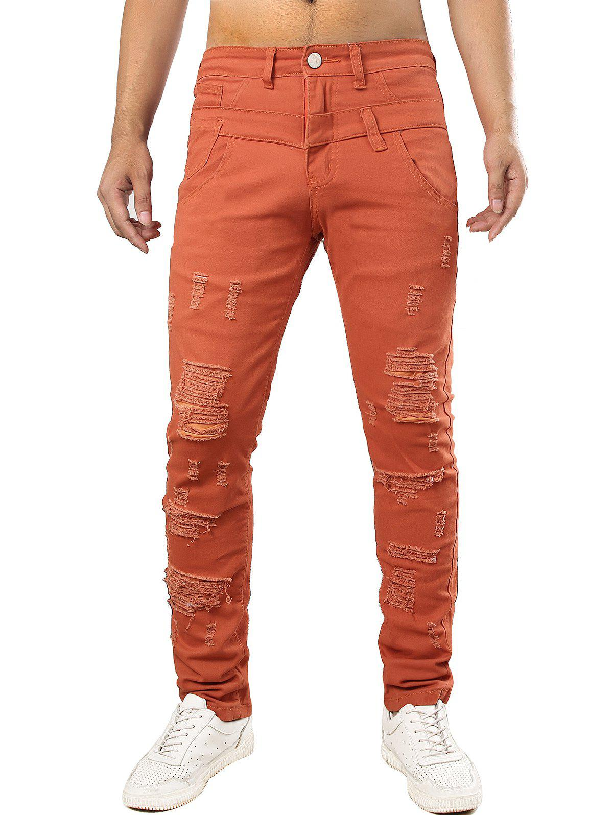 Zip Fly Design Casual Ripped Jeans - ORANGE 42