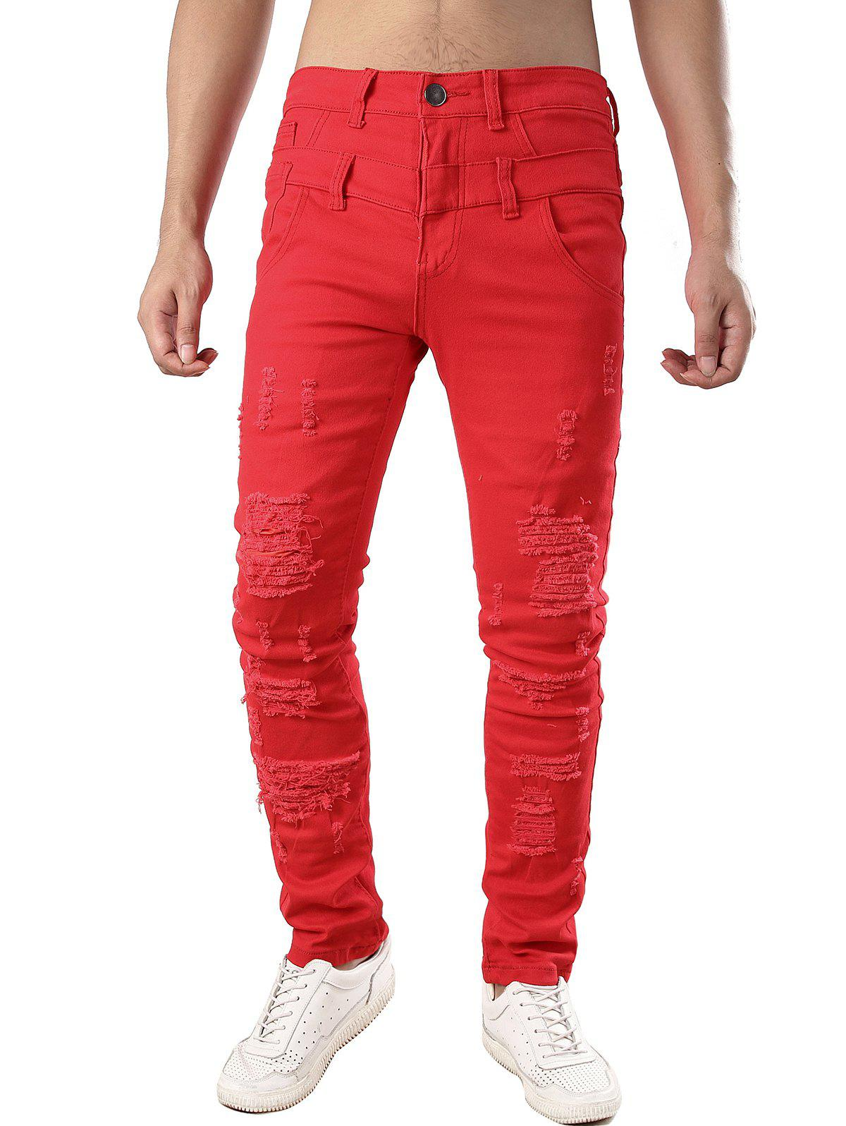 Zip Fly Design Casual Ripped Jeans - RED 40