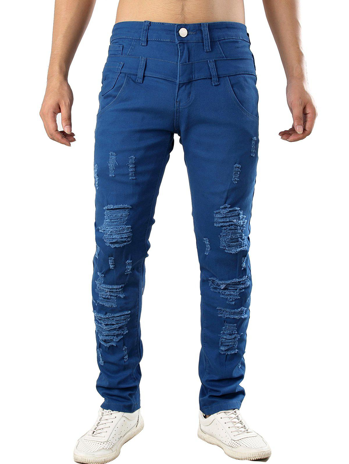 Zip Fly Design Casual Ripped Jeans - BLUE 40