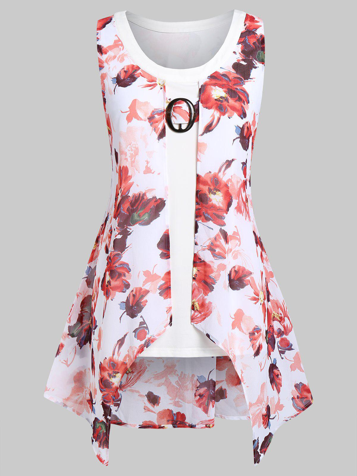 Plus Size Asymmetrical Floral Print Overlay Tank Top - PINK 3X