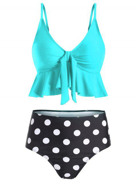 Ruffle Polka Dot High Waisted Tankini Set - CELESTE M