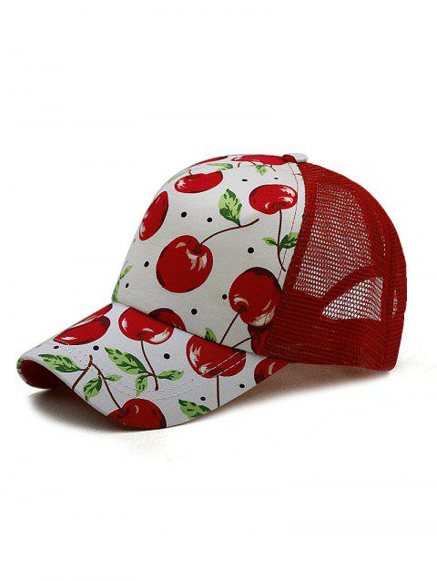 Cherry Pattern Baseball Cap - RED