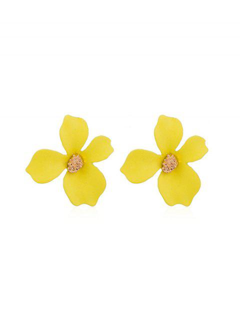 Spray Lacquer Flower Stud Earrings - YELLOW