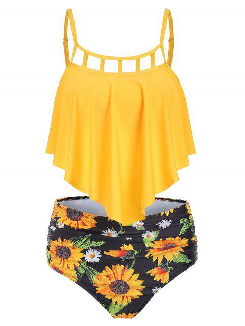 Ensemble de tankini à superposition de tournesol découpé - Jaune 2XL