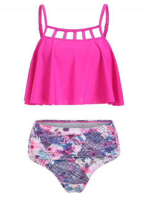 Floral Print Cut Out Overlay Tankini Set - PINK L