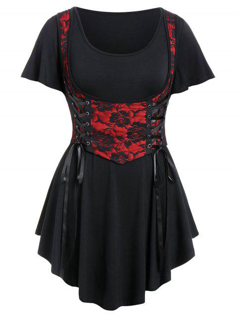 Plus Size Solid T Shirt with Lace Panel Waistcoat - multicolor 4X
