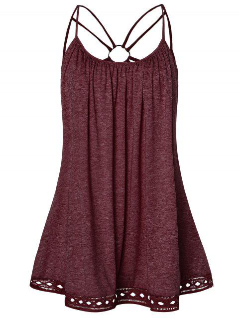Plus Size O Ring Strappy Tank Top - RED WINE 3X