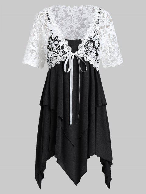 Plus Size Lace Top With Layered Handkerchief Cami Top - BLACK 1X