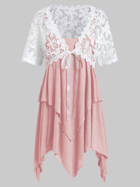 Plus Size Lace Top With Layered Handkerchief Cami Top - PIG PINK 5X