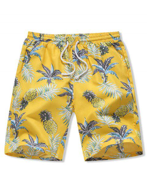 Hawaii Pineapple Print Board Shorts - YELLOW L